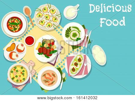 Italian and french cuisine icon of chicken soup with pasta, tomato pasta soup, beef steak with vegetables, egg with ham, salmon cream soup, egg with tomato sauce, egg cheese crostini, kiwi panna cotta