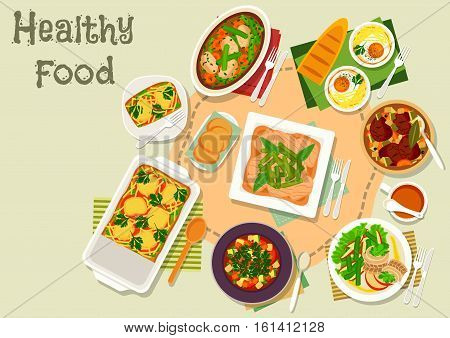 Green bean and egg dishes icon with vegetable meat soup and stew, baked egg with cheese and ham, pasta bean casserole with meat and tomato, bean herring salad, vegetarian soup