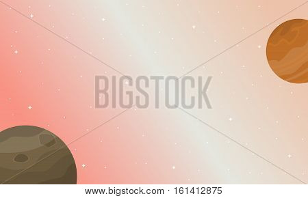 Illustration of planet space nature landscape collection stock