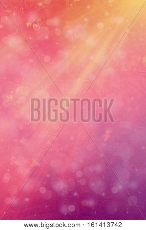 Beautiful pink and orange bokeh background with reflexion