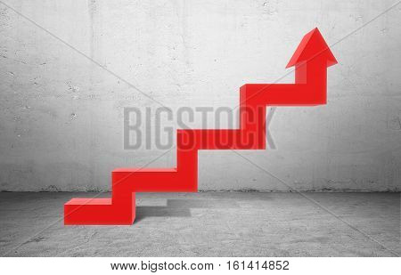 Huge red kinked arrow pointing up on grey concrete background. Business profit. Business strategy. Positive trend.