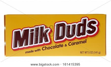 ALAMEDA, CA - JANUARY 01, 2016: A box of Milk Duds candy. Milk Duds are manufactured by The Hershey Company which is headquartered in Hershey, Pennsylvania.