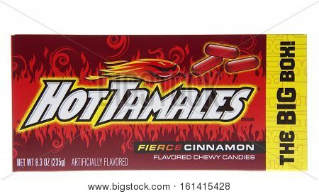 ALAMEDA, CA - JANUARY 01, 2016: A box of Hot Tamales brand Fierce Cinnamon flavored chewy candies. The Big Box. A product of Just Born Incorporated.