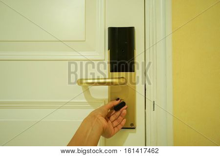 twist the doorknob for locking the hotel room
