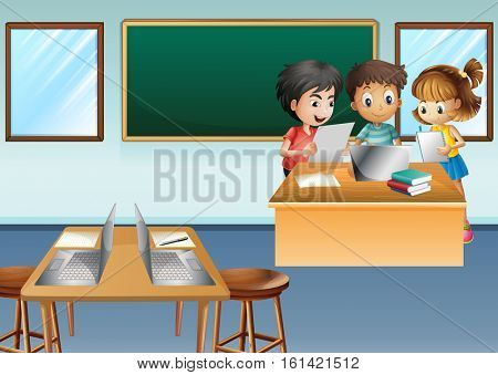 Kids with computer in class