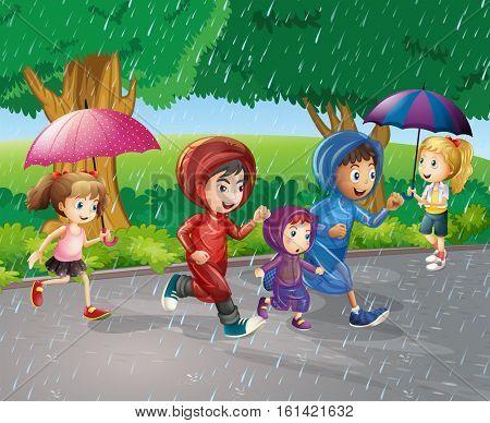 Children running in the rain illustration