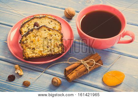 Vintage Photo, Cup Of Coffee And Fresh Baked Fruitcake On Boards