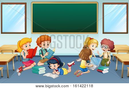 Many children reading and working in group at school illustration