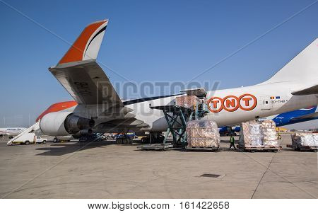 Tnt Boeing 747-4Haf(er) (oo-thb) At Ben-gurion Airport