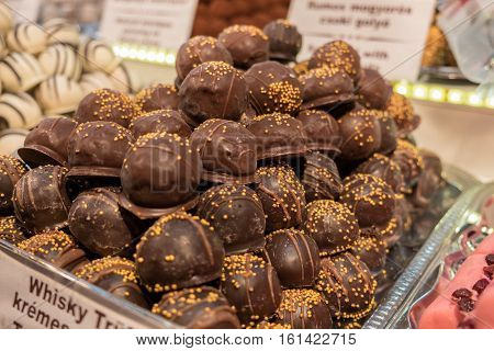 Marzipan And Chocolate Sweets At Christmas Tradition Market At Budapest