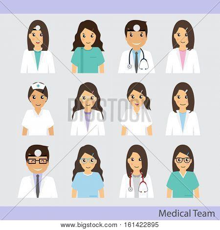 Set of Cartoon Medical Team (dentist, doctors and medical staff people). Vector illustration.