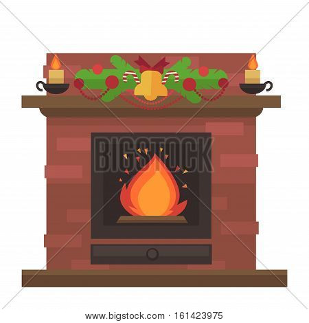 Vector fireplace. Merry Christmas and harry New Year holiday decoration illustration.