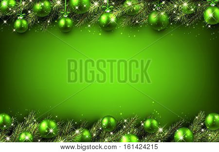 New Year green background with Christmas balls. Vector illustration.