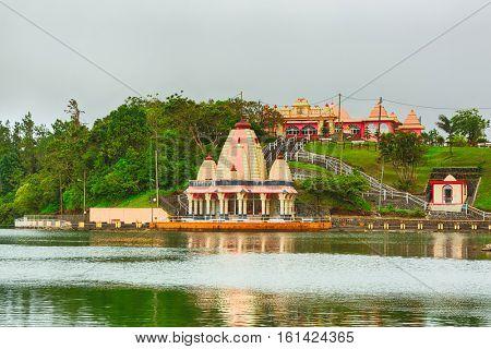 Temple at Ganga Talao. Mauritius. Panorama