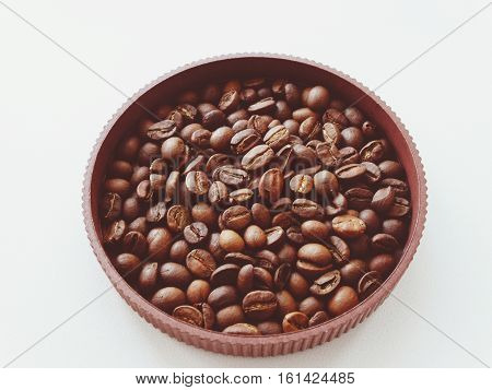 Coffee beans in a pot drink caffeine arabica smell fragrance background wallpaper
