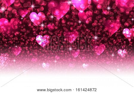 Pink love luminous valentine's background with hearts. Vector illustration.