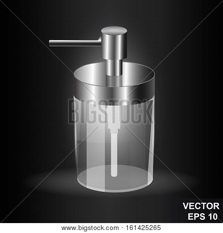 Soap Dispenser. Glass And Metal. Transparent. Isolated On A Black Background. Realistic.
