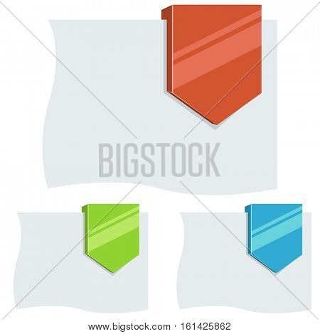 Flat design 3D down arrow tag vector template. Blank color discount, sale or special offer label.