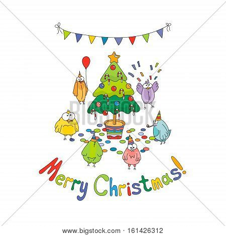 Merry Christmas greeting card with color cartoon funny birds around the Christmas tree. Hand draw vector illustration. Bright colors.