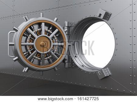 Open Bank Vault Door Illustration. 3d rendering