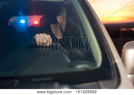 Male drunk driver chased by police. Driving under alcohol influence