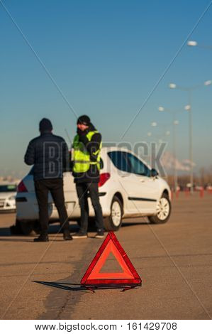 Man After Car Breakdown And Assistance Technician
