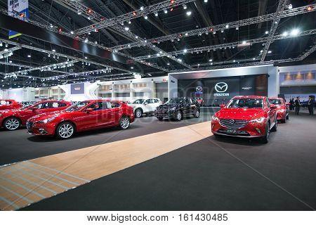BANGKOK - November 30: Showroom of Mazda car at Motor Expo 2016 on November 30 2016 in Bangkok Thailand.