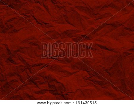 Closeup od red wrinkled paper texture for background