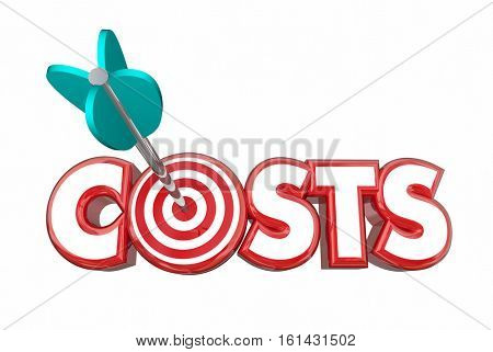 Target Costs Arrow Bullseye Reduce Spending 3d Illustration