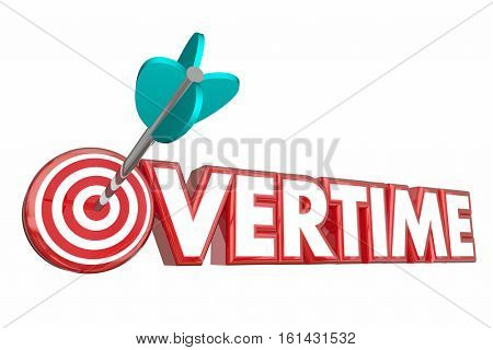 Overtime Extra Hours Added Work Target Employee 3d Illustration