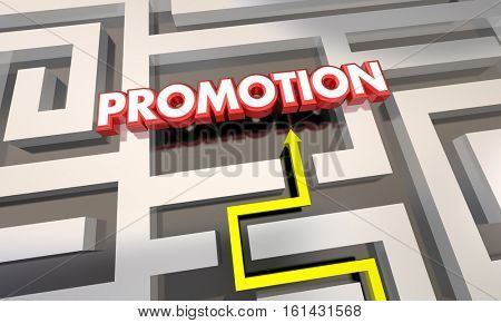 Promotion Job Raise Career Advancement Maze 3d Illustration