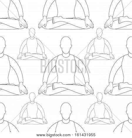 Seamless Pattern Man Is Stand Meditating. Vector Illustration