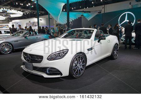 BANGKOK - November 30: Mercedes-benz SLC 43 car on display at Motor Expo 2016 on November 30 2016 in Bangkok Thailand.