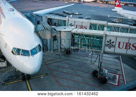 ZURICH - December 3rd 2016: Planes preparing for take off at the Zurich International Airport (Flughafen Zurich) in Kloten, Switzerland