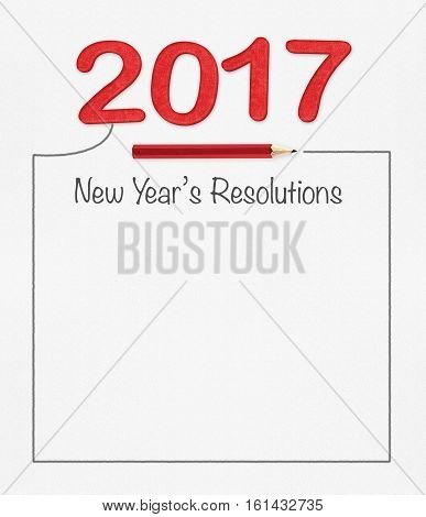 2017 new year resolution on white paper with pencil and drawing frame mock up for adding your text (3d rendering)