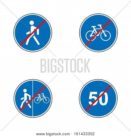 Set of road signs. Signboards. Collection of traffic signs. Vector illustration. End of speed limit, bikes, pedestrian route