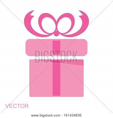 image of pink gift  box icon vector isolated on white background