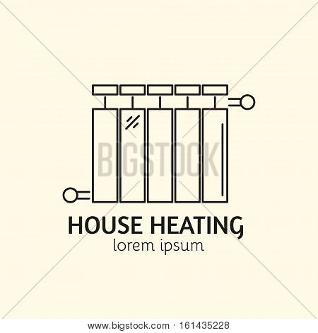 House Heating Single Logo. Illustration of Radiator made in trendy line style vector. Clean and Simple modern emblem for shop product or company. Perfect for your business.