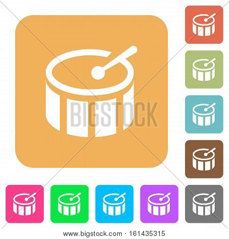 Drum icons on rounded square vivid color backgrounds.