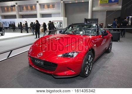 BANGKOK - November 30: Mazda MX-5 car on display at Motor Expo 2016 on November 30 2016 in Bangkok Thailand.