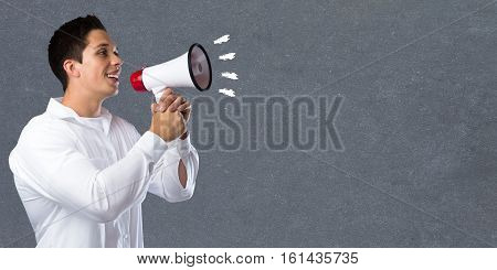 Empty Board Blank Business Concept Copyspace Copy Space Information Message Young Man Megaphone