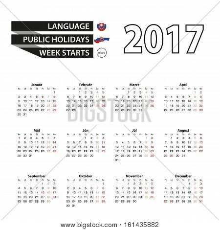 Calendar 2017 On Slovak Language. With Public Holidays For Slovakia In Year 2017. Week Starts From M