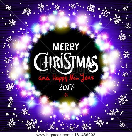 Merry Christmas And Happy New Year 2017 Realistic Ultra Violet Colorful Light Garlands Like Round Fr