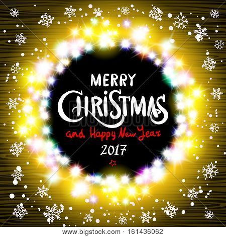 Merry Christmas And Happy New Year 2017 Realistic Ultra Yellow Colorful Light Garlands Like Round Fr