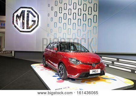 BANGKOK - November 30: MG 3 car on display at Motor Expo 2016 on November 30 2016 in Bangkok Thailand.