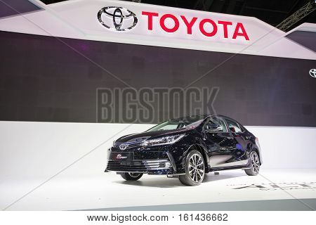 BANGKOK - November 30: Toyota Corolla Altis ESport car on display at Motor Expo 2016 on November 30 2016 in Bangkok Thailand.
