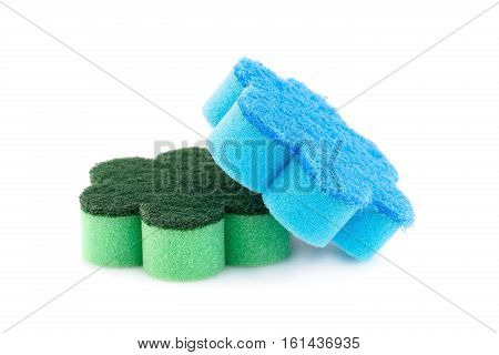 Two sponges isolated on white background, horizontal picture.