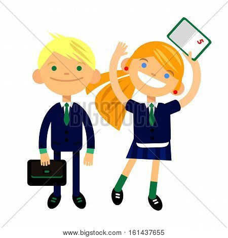two students, schoolchild, cute boy and girl in the form of a white background. Vector illustration of a flat design