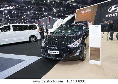 BANGKOK - November 30: Hyundai Elantra car on display at Motor Expo 2016 on November 30 2016 in Bangkok Thailand.