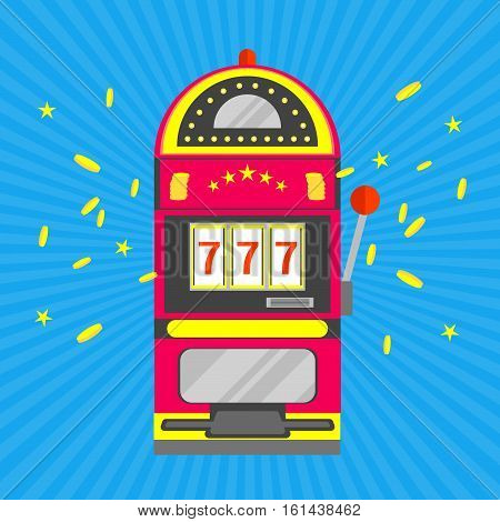 Slot Machine with One Arm Gambling over Blue Rays Background. Casino Symbol. Flat Design Style. Vector illustration